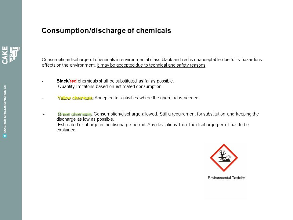 Consumption/discharge of chemicals