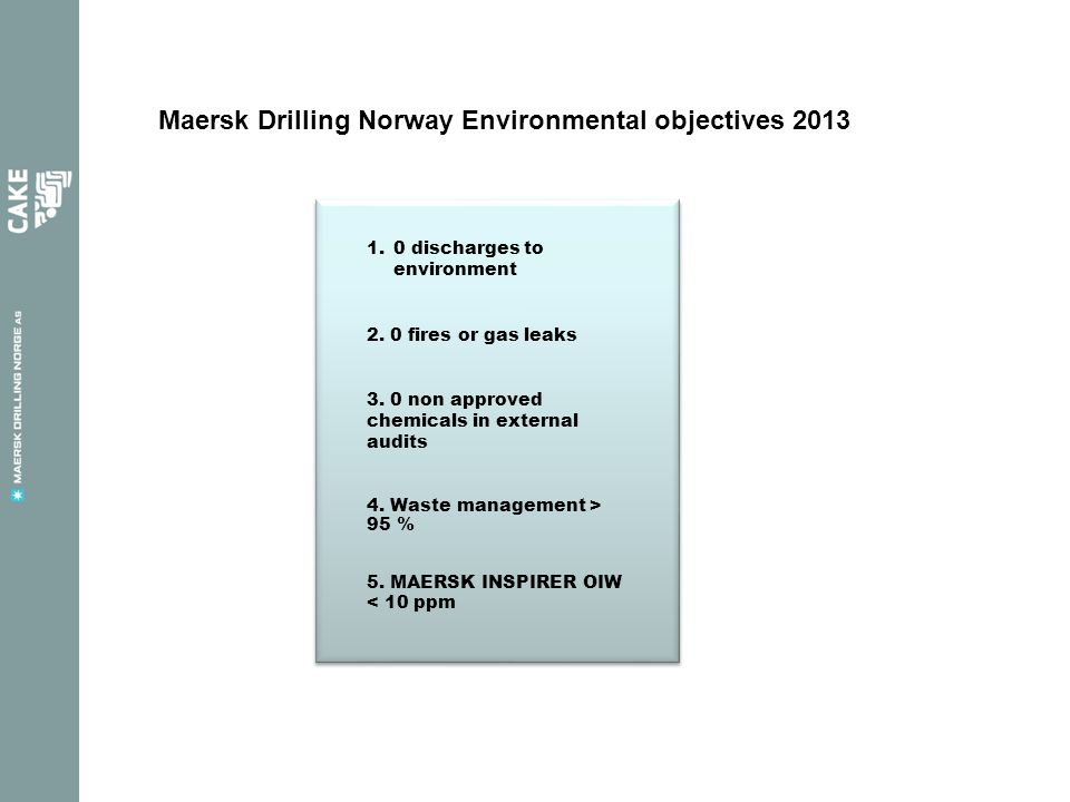 Maersk Drilling Norway Environmental objectives 2013