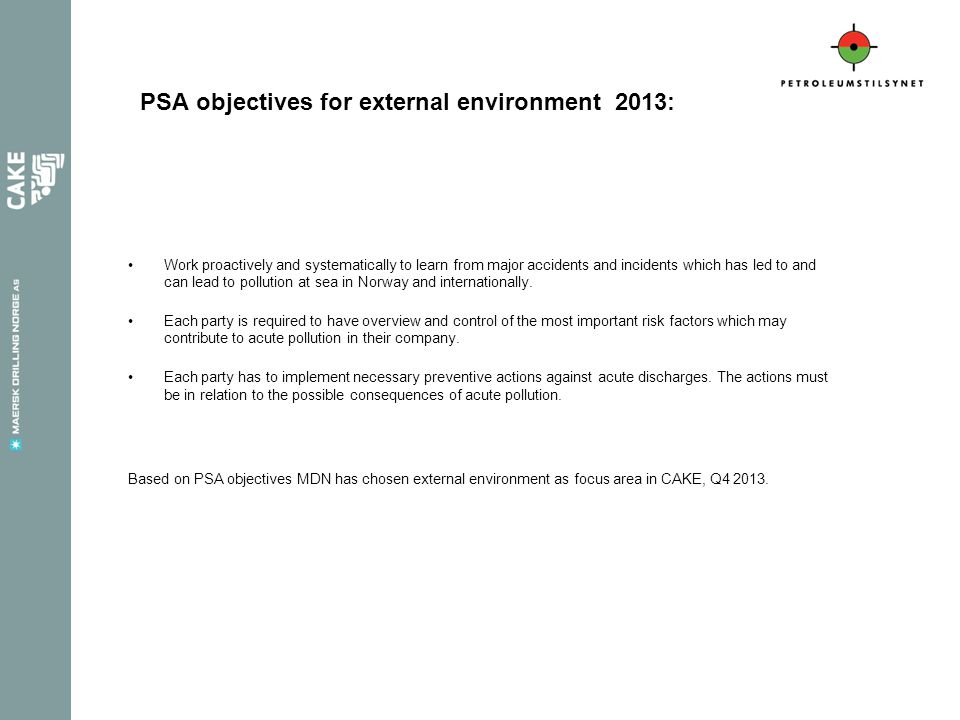 PSA objectives for external environment 2013: