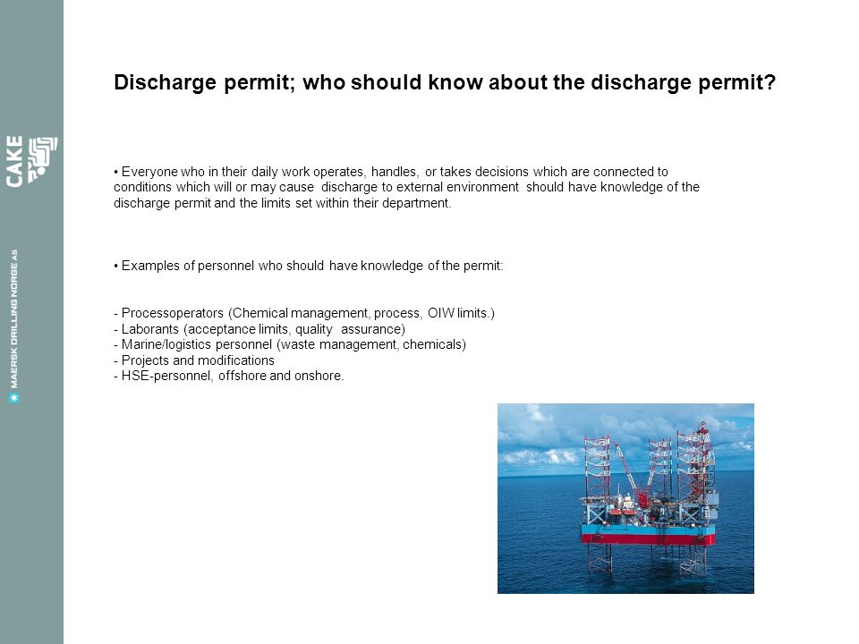 Discharge permit; who should know about the discharge permit