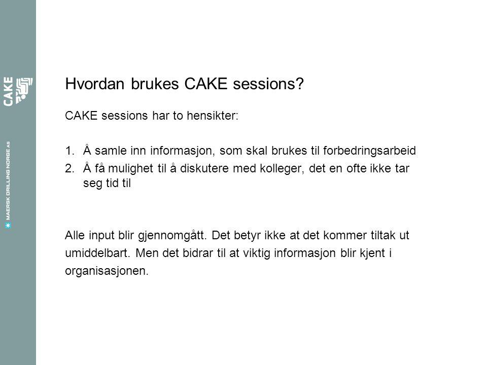 Hvordan brukes CAKE sessions