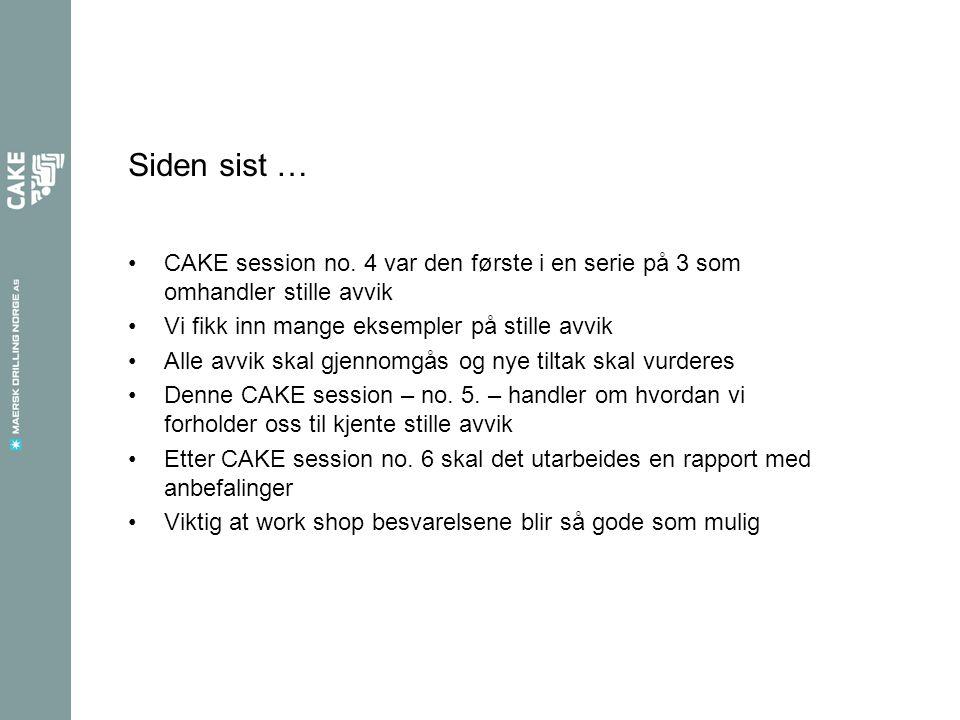 Siden sist … CAKE session no. 4 var den første i en serie på 3 som omhandler stille avvik. Vi fikk inn mange eksempler på stille avvik.