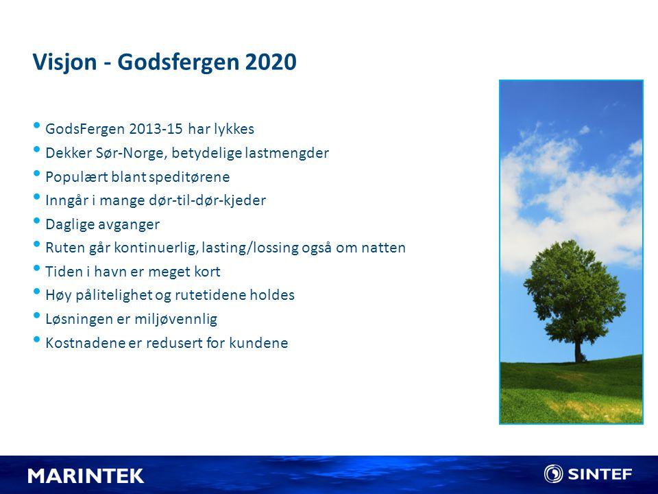 Visjon - Godsfergen 2020 GodsFergen 2013-15 har lykkes