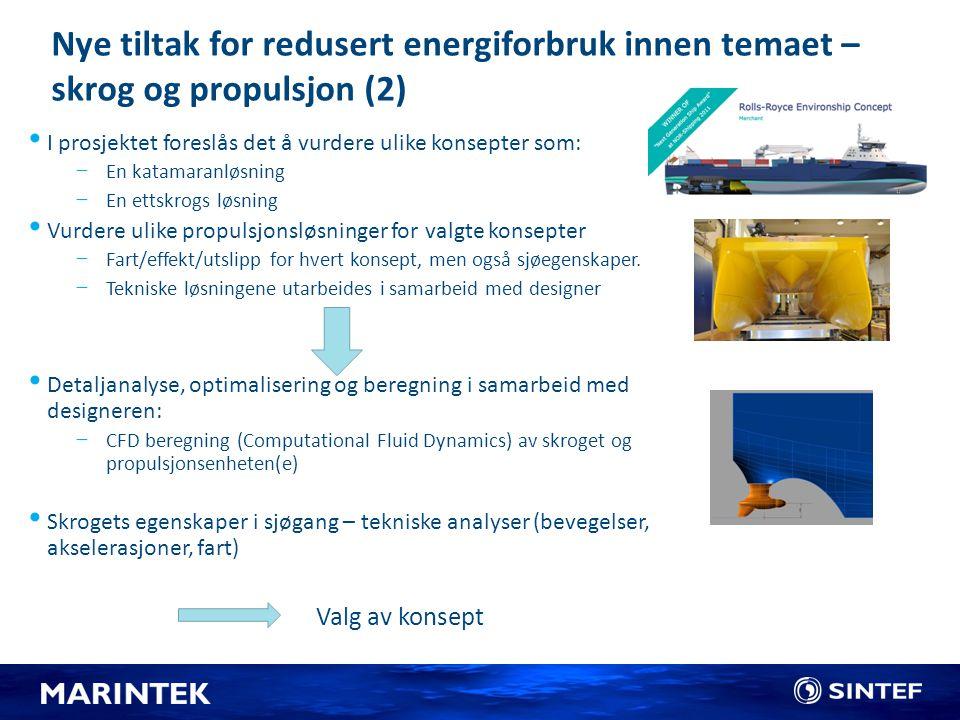 Nye tiltak for redusert energiforbruk innen temaet – skrog og propulsjon (2)