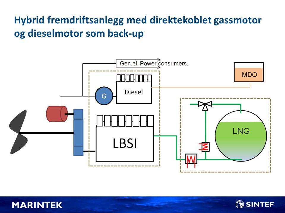 Hybrid fremdriftsanlegg med direktekoblet gassmotor og dieselmotor som back-up