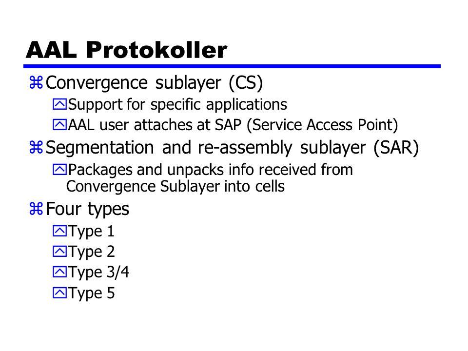 AAL Protokoller Convergence sublayer (CS)