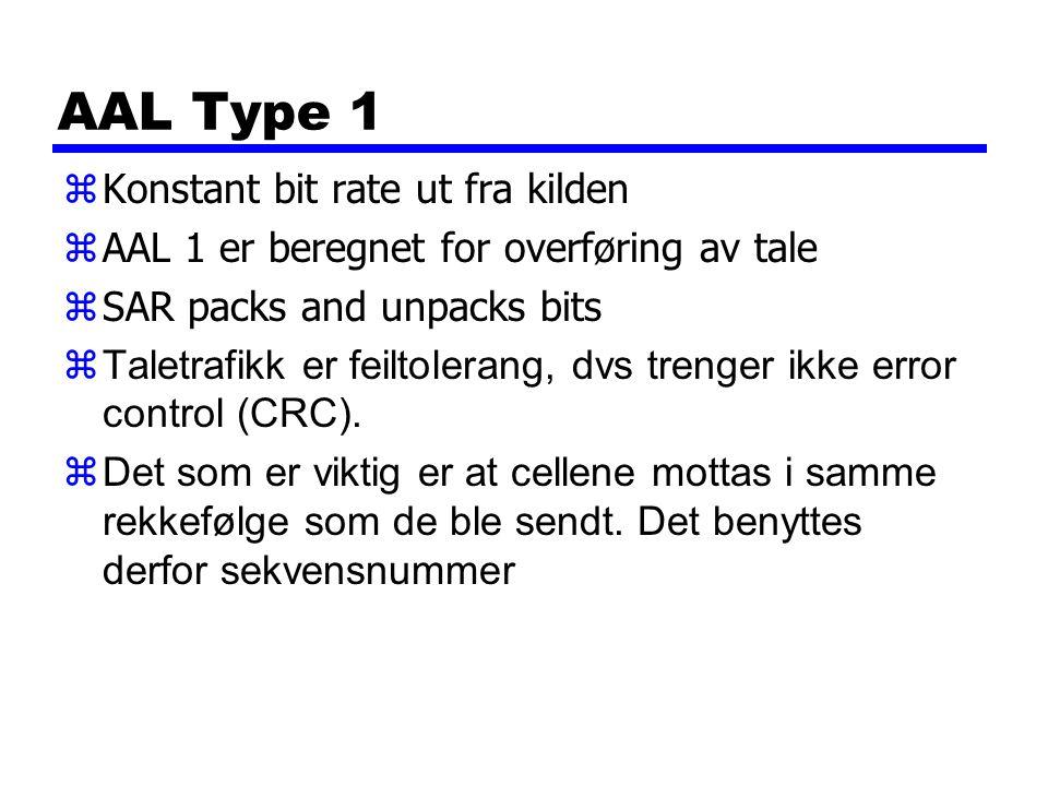 AAL Type 1 Konstant bit rate ut fra kilden
