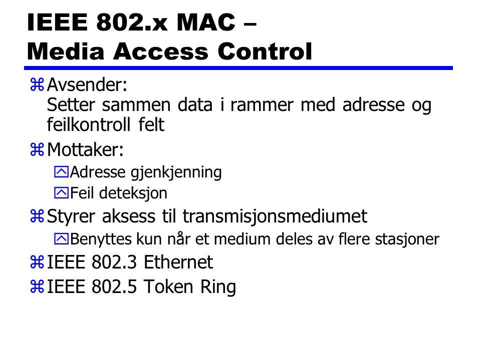 IEEE 802.x MAC – Media Access Control