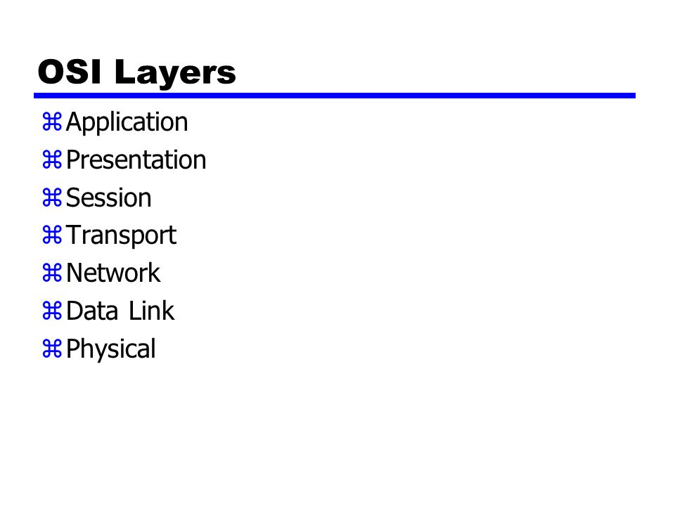 OSI Layers Application Presentation Session Transport Network