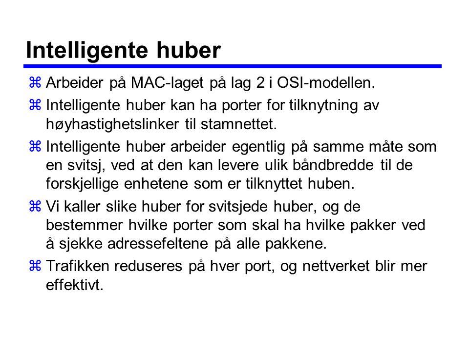 Intelligente huber Arbeider på MAC-laget på lag 2 i OSI-modellen.