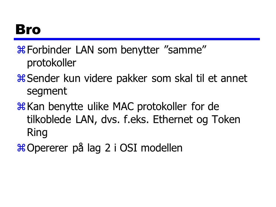 Bro Forbinder LAN som benytter samme protokoller