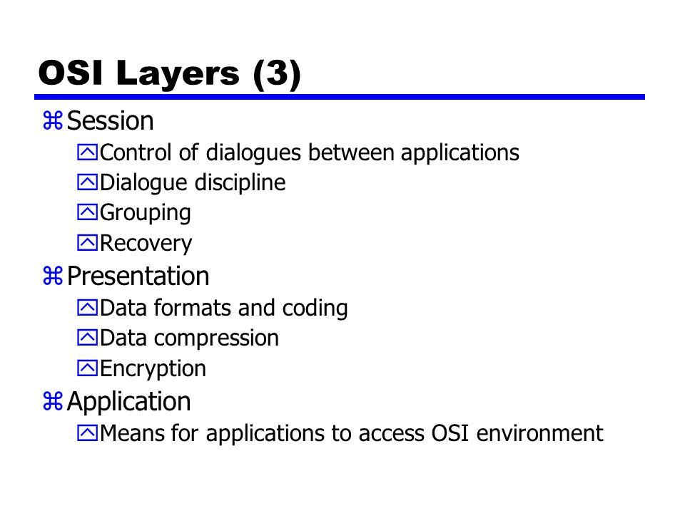 OSI Layers (3) Session Presentation Application