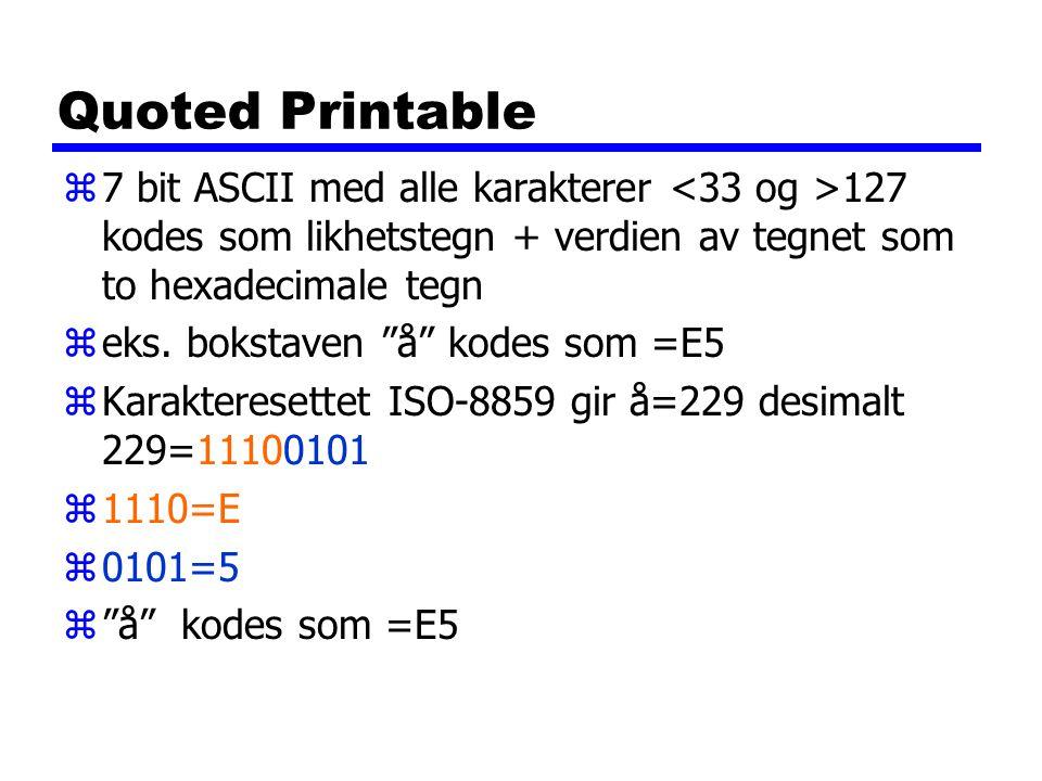 Quoted Printable 7 bit ASCII med alle karakterer <33 og >127 kodes som likhetstegn + verdien av tegnet som to hexadecimale tegn.