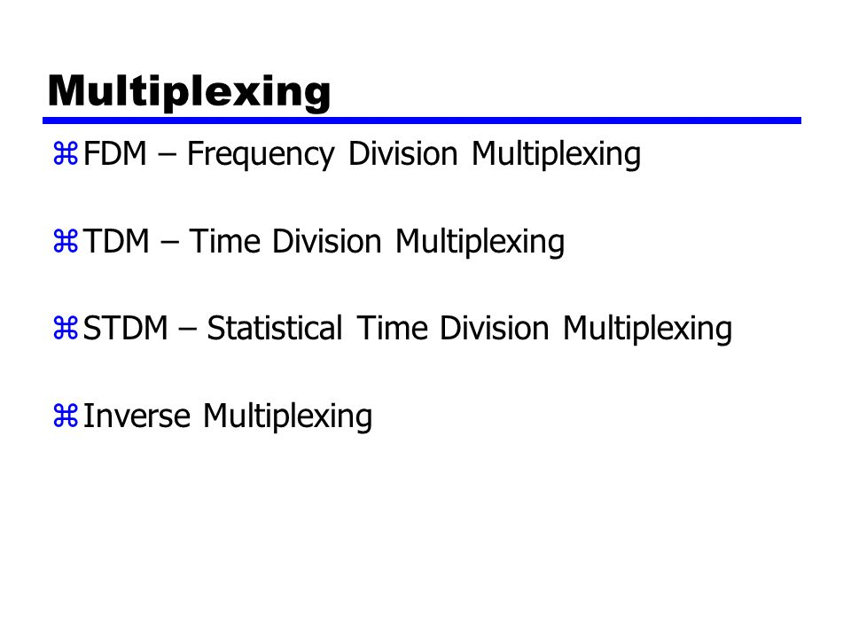 Multiplexing FDM – Frequency Division Multiplexing