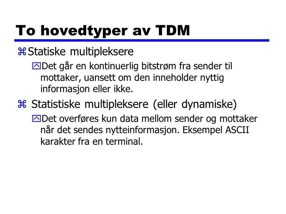 To hovedtyper av TDM Statiske multipleksere