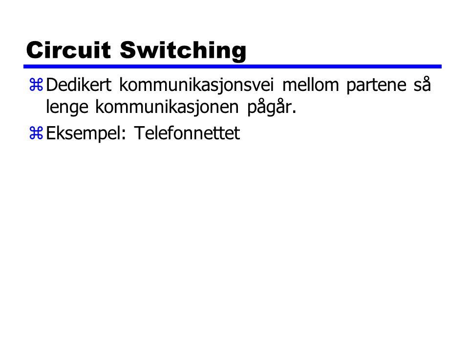 Circuit Switching Dedikert kommunikasjonsvei mellom partene så lenge kommunikasjonen pågår.