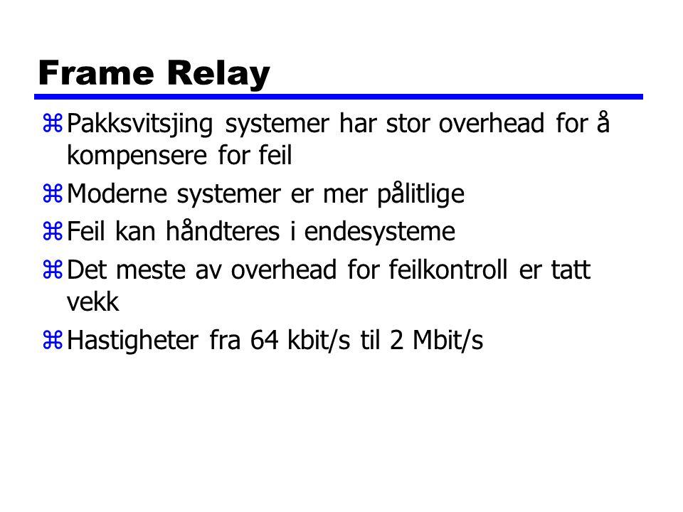 Frame Relay Pakksvitsjing systemer har stor overhead for å kompensere for feil. Moderne systemer er mer pålitlige.