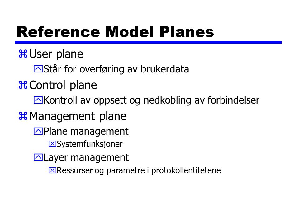 Reference Model Planes
