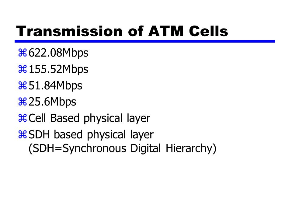 Transmission of ATM Cells