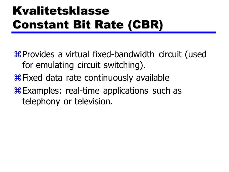Kvalitetsklasse Constant Bit Rate (CBR)
