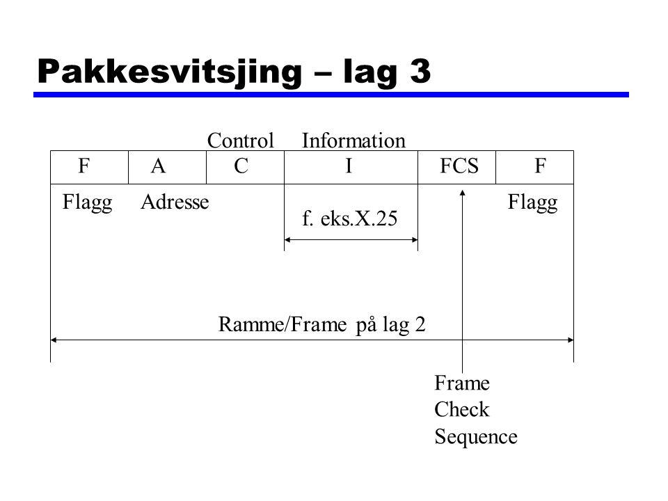 Pakkesvitsjing – lag 3 Control Information F A C I FCS F Flagg Adresse