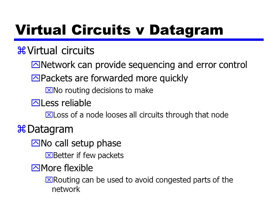 Virtual Circuits v Datagram