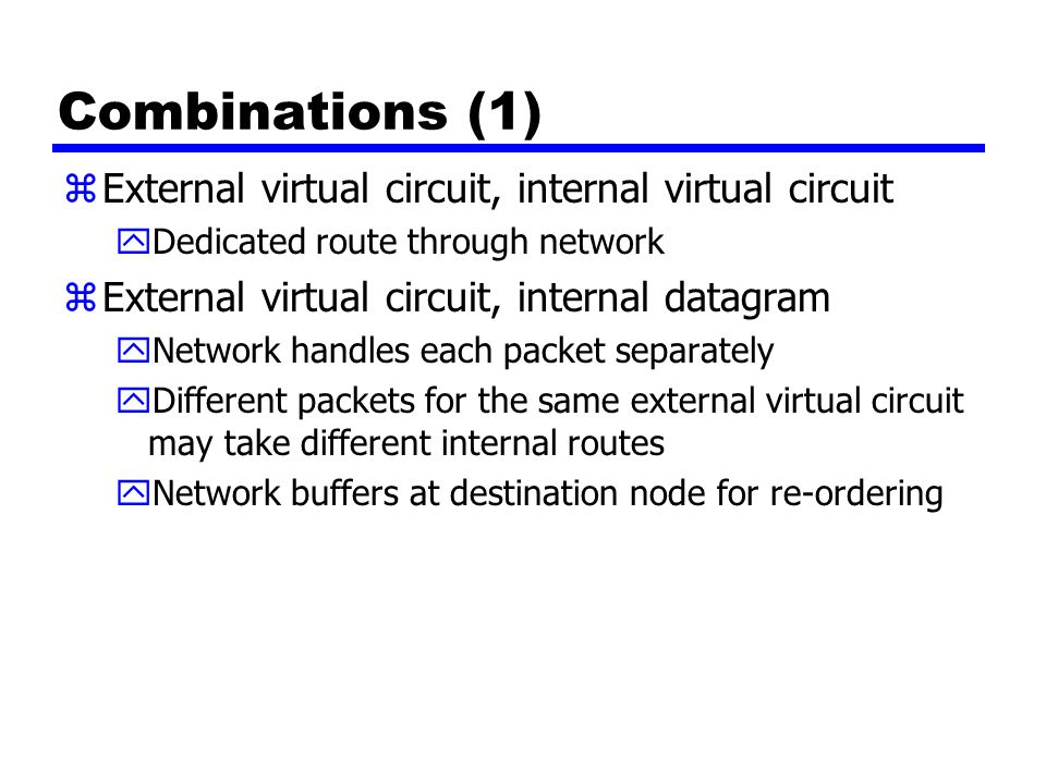 Combinations (1) External virtual circuit, internal virtual circuit