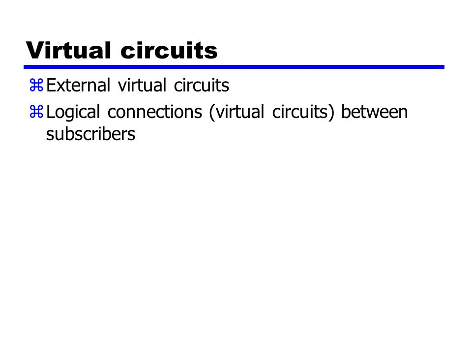 Virtual circuits External virtual circuits