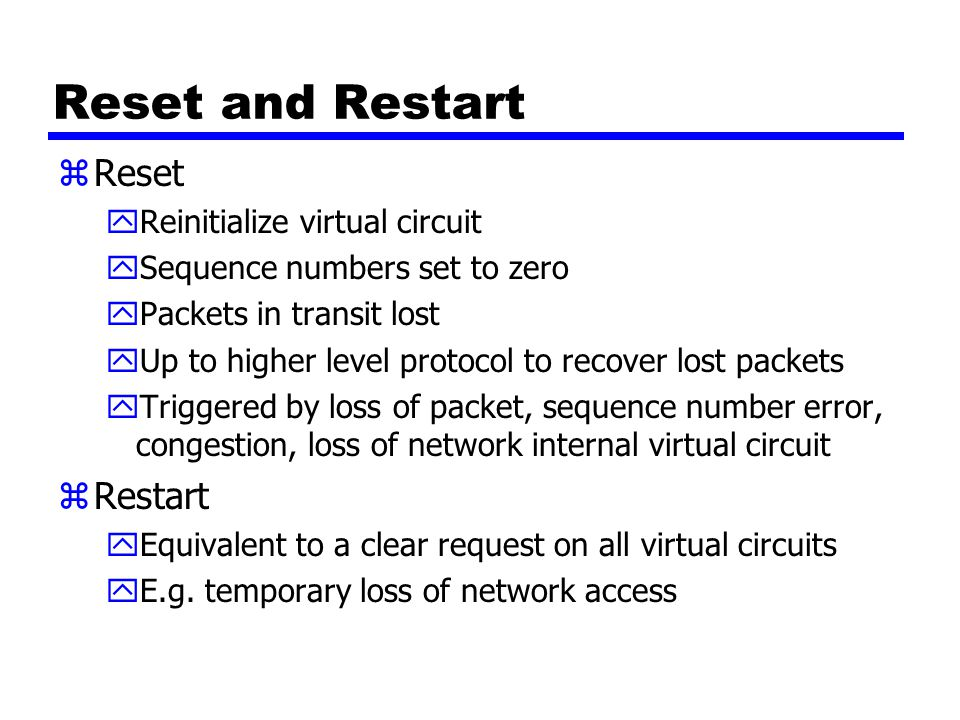 Reset and Restart Reset Restart Reinitialize virtual circuit