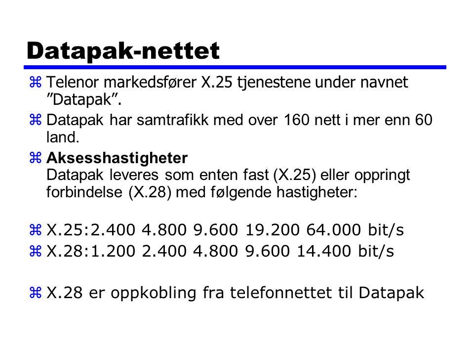 Datapak-nettet Telenor markedsfører X.25 tjenestene under navnet Datapak . Datapak har samtrafikk med over 160 nett i mer enn 60 land.