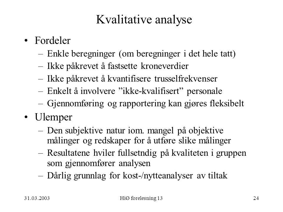 Kvalitative analyse Fordeler Ulemper