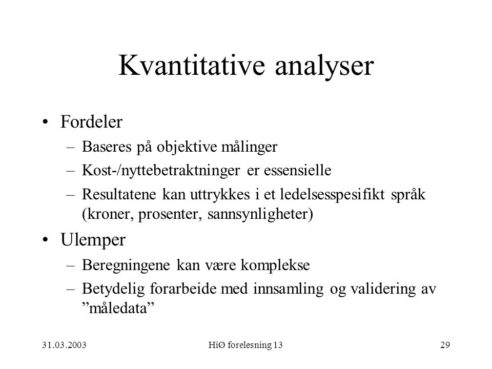 Kvantitative analyser