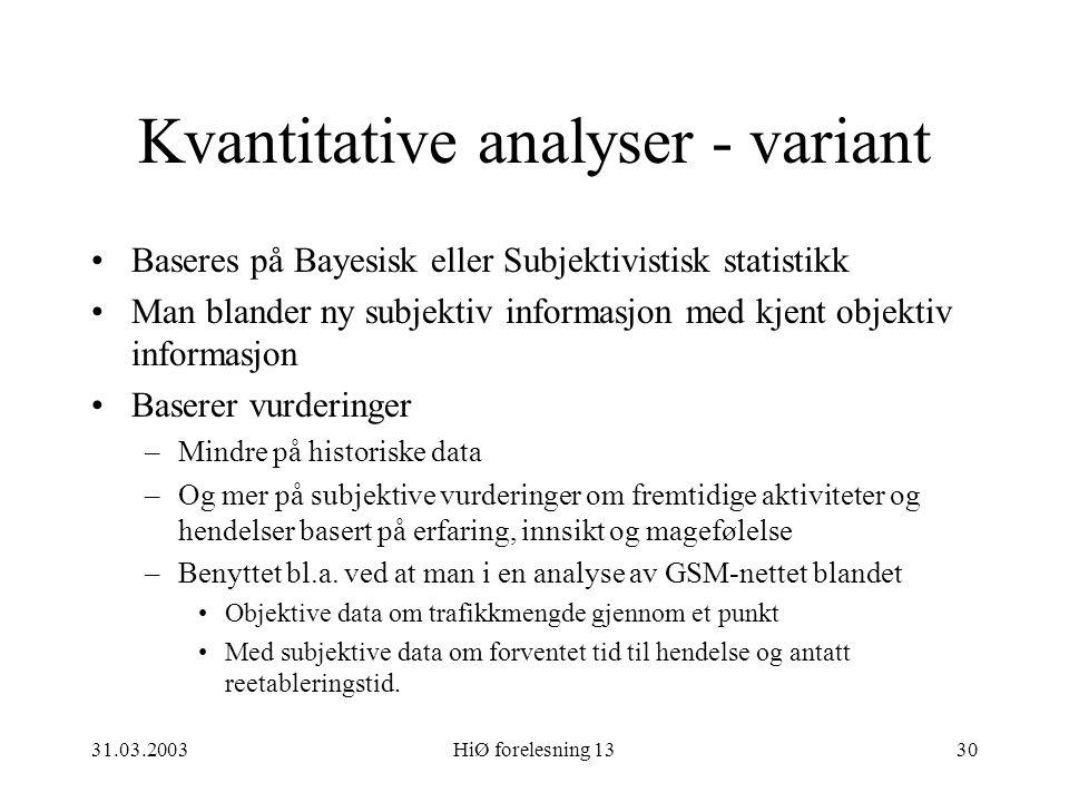 Kvantitative analyser - variant