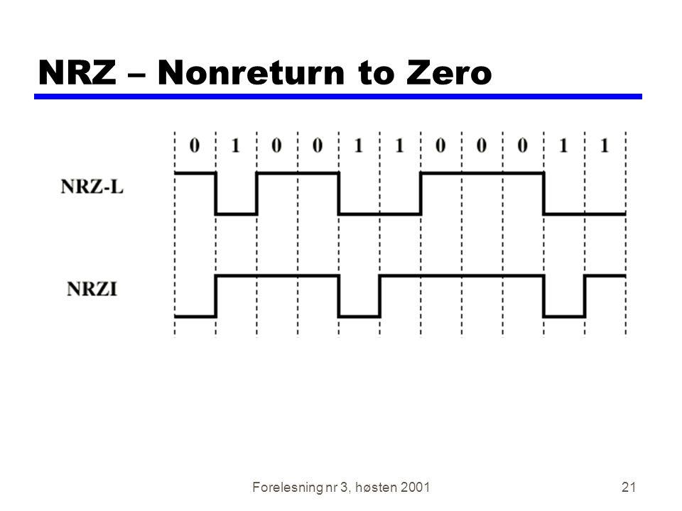 NRZ – Nonreturn to Zero Forelesning nr 3, høsten 2001