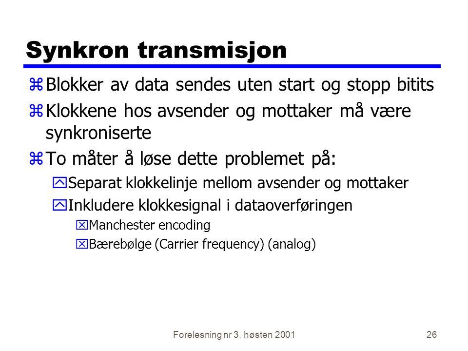 Synkron transmisjon Blokker av data sendes uten start og stopp bitits