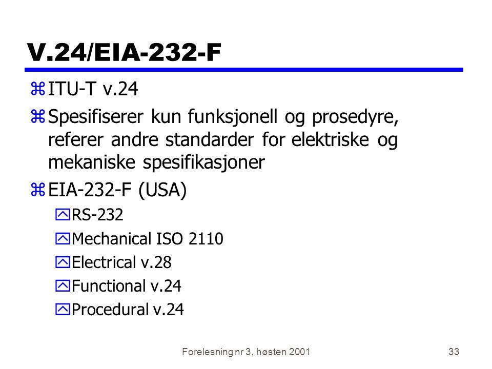 V.24/EIA-232-F ITU-T v.24. Spesifiserer kun funksjonell og prosedyre, referer andre standarder for elektriske og mekaniske spesifikasjoner.