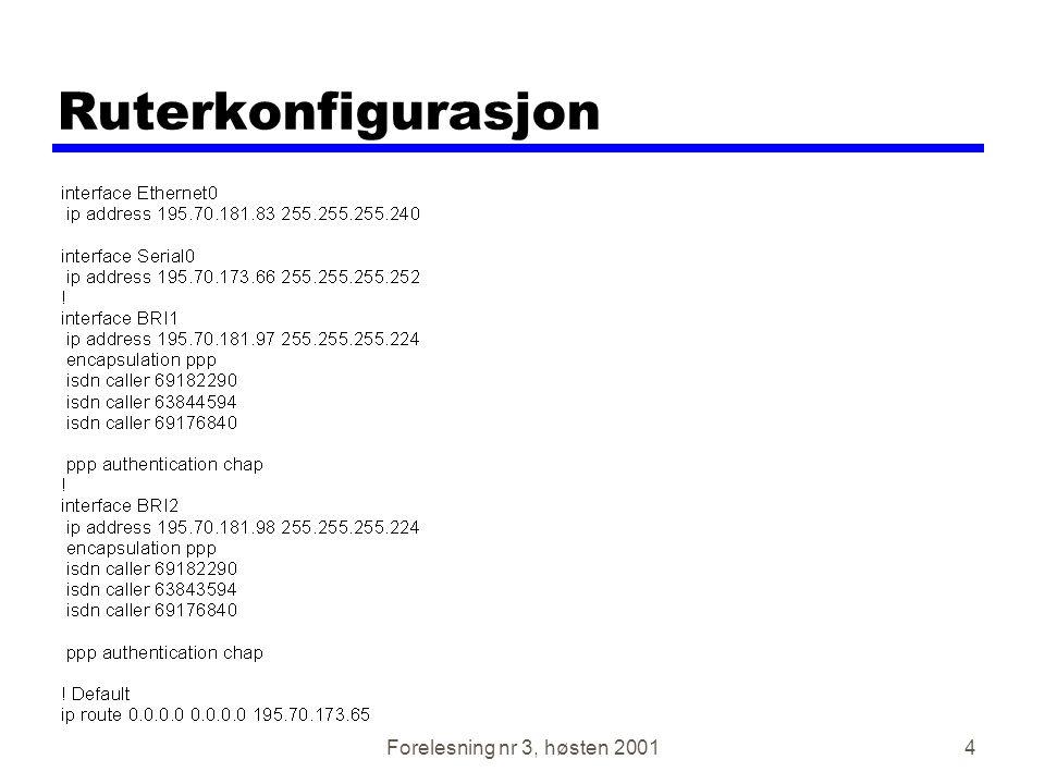 Ruterkonfigurasjon Forelesning nr 3, høsten 2001