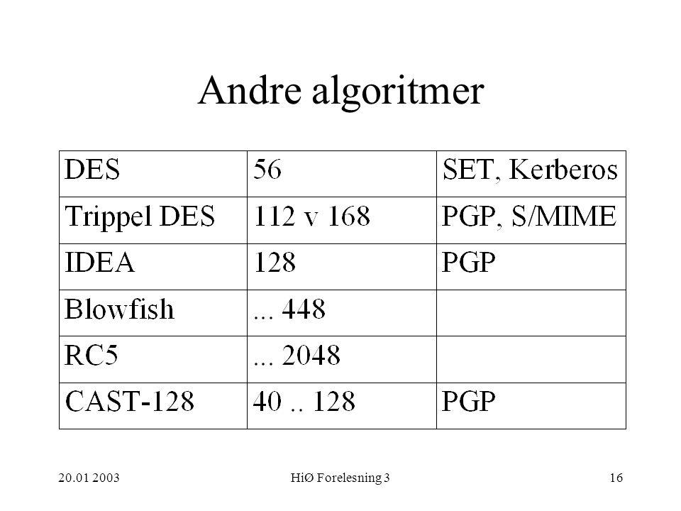 Andre algoritmer 20.01 2003 HiØ Forelesning 3 HiØ 20.01 2003