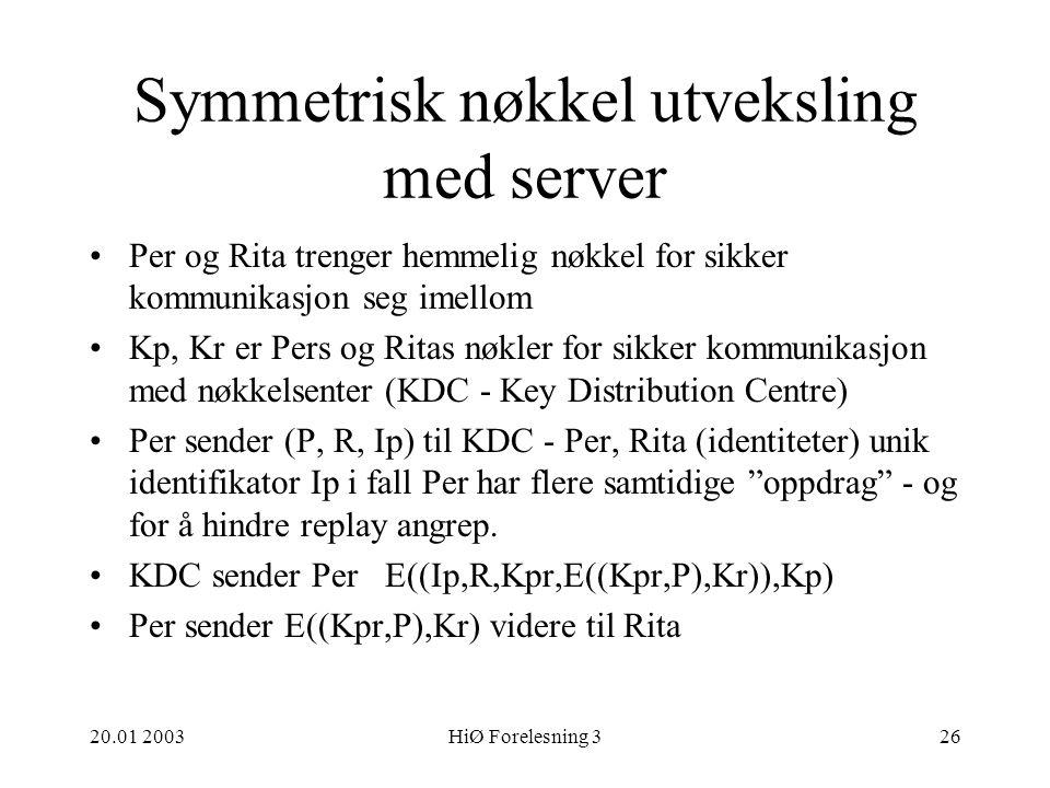 Symmetrisk nøkkel utveksling med server