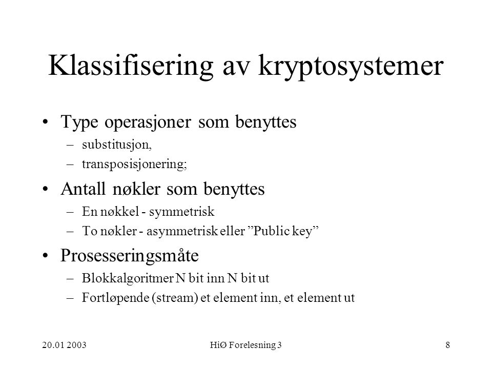 Klassifisering av kryptosystemer