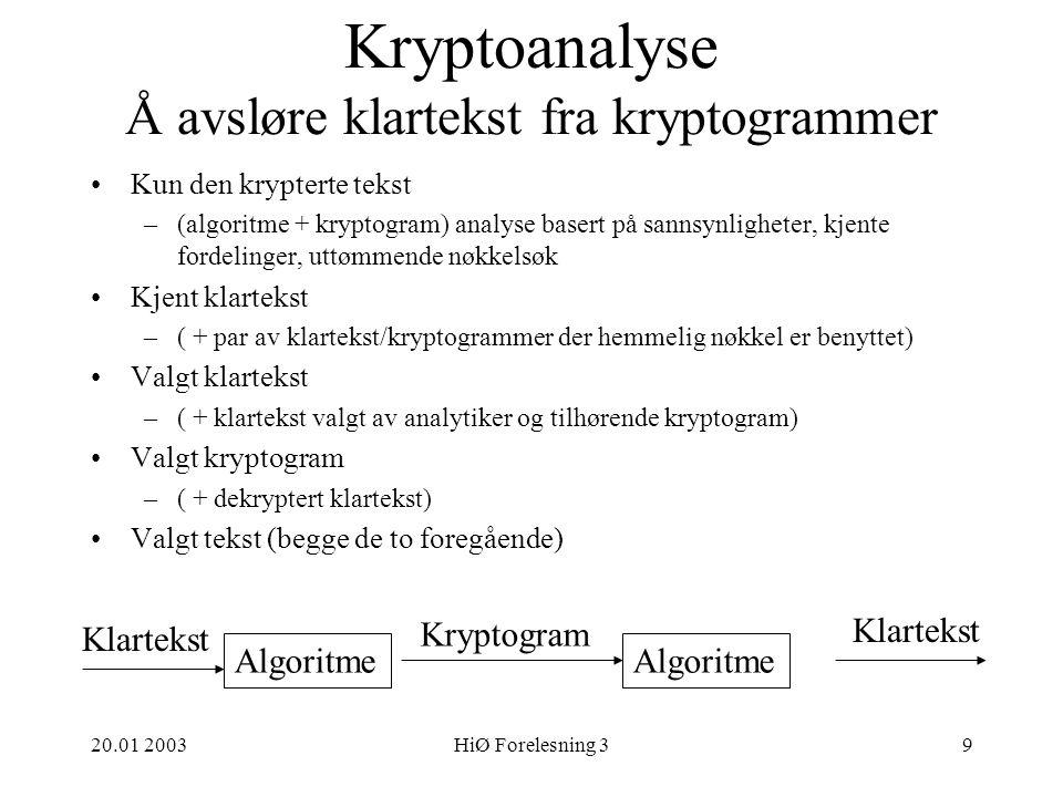Kryptoanalyse Å avsløre klartekst fra kryptogrammer