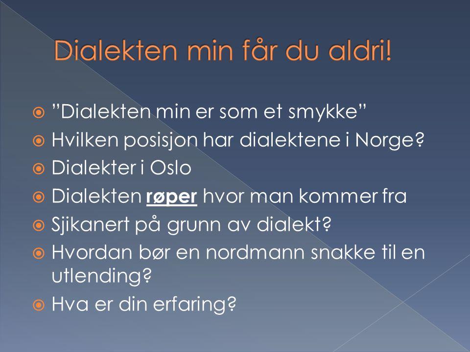 Dialekten min får du aldri!