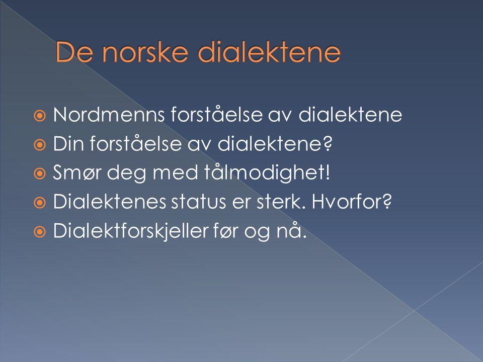 De norske dialektene Nordmenns forståelse av dialektene