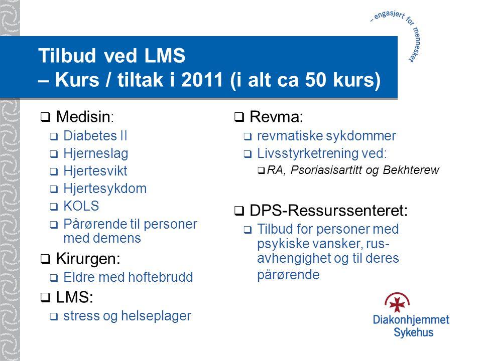 Tilbud ved LMS – Kurs / tiltak i 2011 (i alt ca 50 kurs)