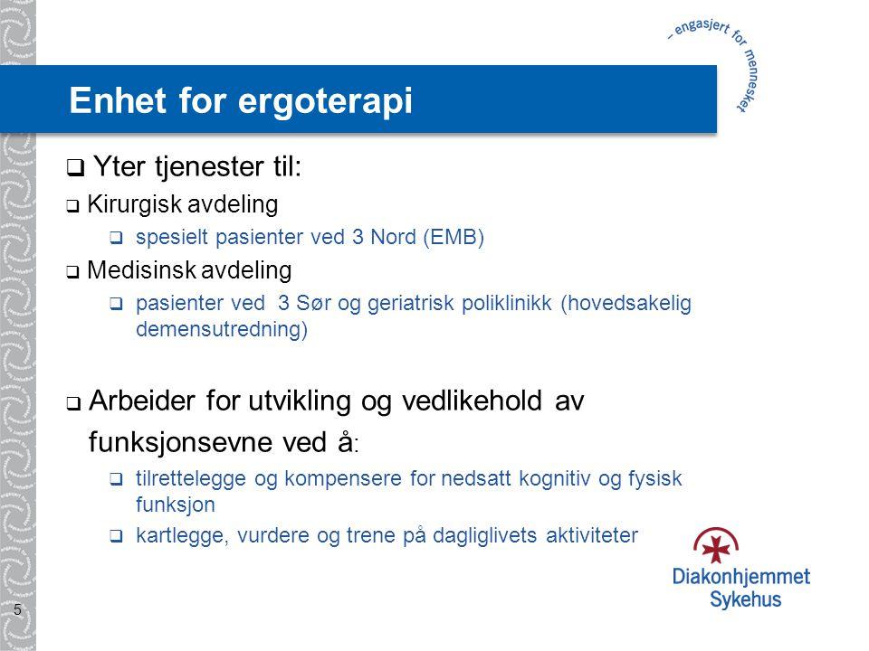 Enhet for ergoterapi Yter tjenester til: funksjonsevne ved å: