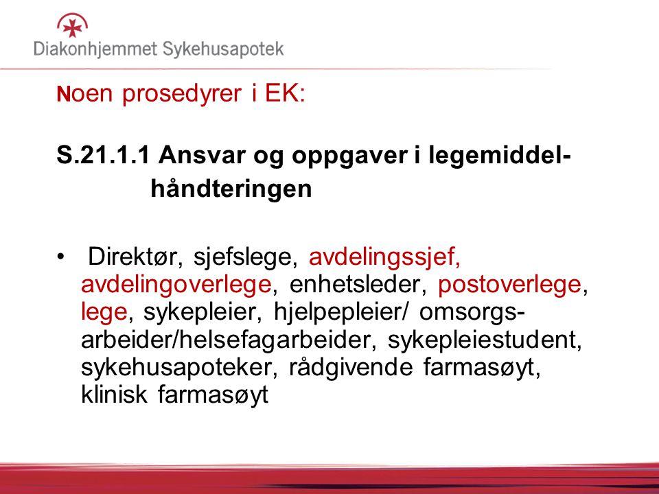 S.21.1.1 Ansvar og oppgaver i legemiddel- håndteringen