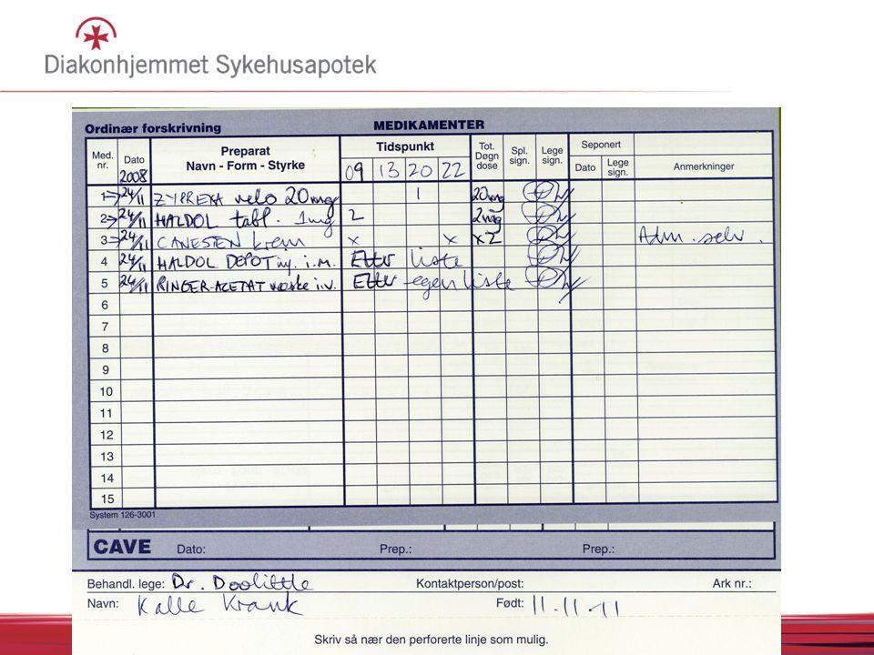 Multidosepasienter: denne prosedyren gjelder ikke DPS og Søndre Borgen