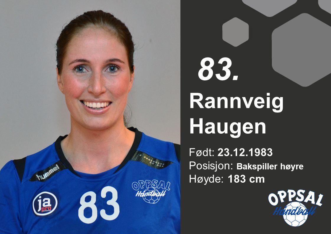 83. Rannveig Haugen Født: 23.12.1983 Posisjon: Bakspiller høyre Høyde: 183 cm