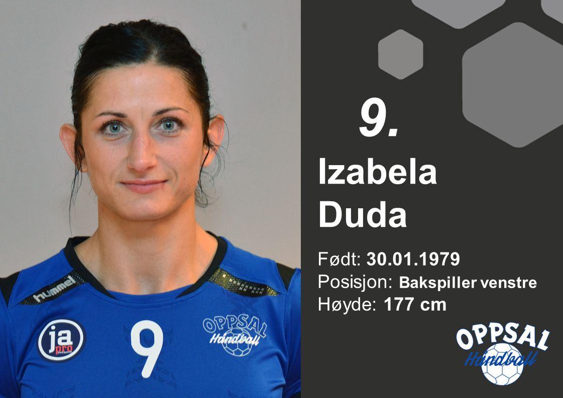 9. Izabela Duda Født: 30.01.1979 Posisjon: Bakspiller venstre Høyde: 177 cm