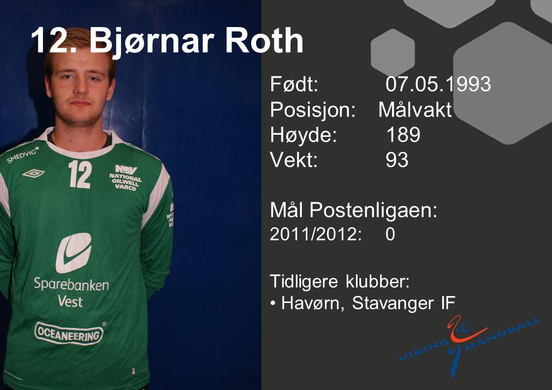 12. Bjørnar Roth Født: 07.05.1993 Posisjon: Målvakt Høyde: 189